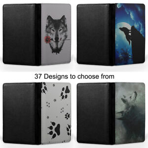 Wolf - Classic Wolf Black and White Wolf Passport Holder Faux Leather Cover Case