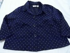 WOMANS PLUS 2X AUTHENTIC STUDIO WORKS NAVY WHITE POLKA DOTS JACKET CAREER DINNER