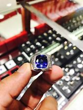 Certified 9Ct Blue sapphire Mens Ring Set On 18Kt White Gold With Diamonds