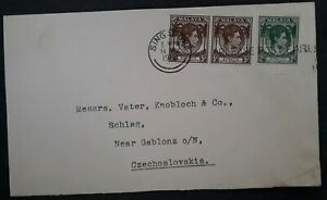 SCARCE 1933 Straits Settlements Cover ties 3 KGVI stamps canc Singapore