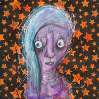 GUS FINK art ORIGINAL painting artist outsider lowbrow folk fantasy stars LYLA