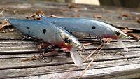CUSTOM PAINTED megabig Bass Holographique Jerk Appâts de Pêche Leurre Silver Real Shad