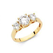 14k Genuine Yellow Gold  Classic Three Stone Round cut  Engagement Wedding