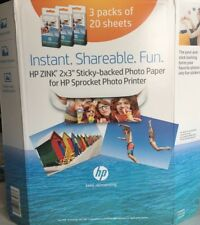 HP Zink Sprocket Sticker Sticky Back Photo Paper 3 Pack - Brand New!