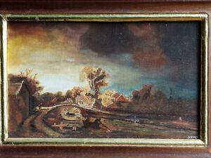 Joli TABLEAU signé Peinture huile toile HST paysage pont rivière style flamand