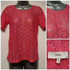 Size 8 Top NEXT Pink Lace Excellent Condition Women's Ladies Short Sleeved