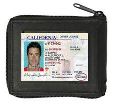 ZIP AROUND SAFE GENUINE LEATHER BIFOLD CARD HOLDER FLAP TOP MEN'S WALLET