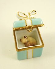 NEW FRENCH LIMOGES TRINKET BOX TURQUOISE GIFT BOX GOLD BOW & SIAMESE KITTY CAT
