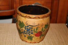 Antique Pottery Crock-Painted Apples Grapes Pears-Country Decor Crock