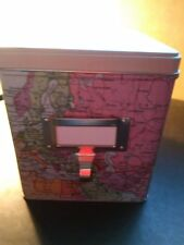 World Traveller Map Tin Box Storage Metal Container NEW