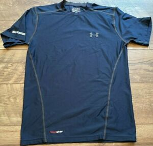 UNDER ARMOUR heatGEAR Fitted Blue Gym Athletic crossFIT Training Shirt mens S
