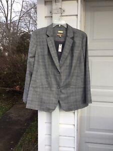 NWT Talbots Gorgeous Gray Bl Italian Virgin Wool Fabric Lined Blazer 24W 3X