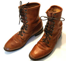 Vintage JUSTIN 420 Size 8.5 D US Men's Brown Leather Lace Up Western Work Boots