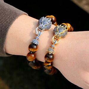 Charm Dragon Head Connector 14MM Natural Tiger Eye Beads Luxury Energy Bracelets