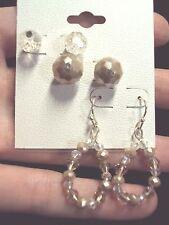 faceted white + tan glass + teardrop crystal silver stud + dangle earrings 3 pr