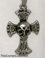 SKULL in CROSS NECKLACE with MARCASITE ACCENTS