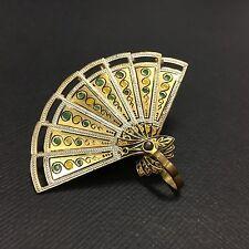 Rare Vtg Oriental Spanish Folding FAN Enamel DAMASCENE Brooch Pin Gold DD146e