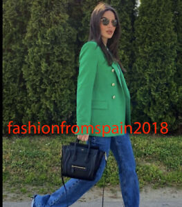 ZARA NEW WOMAN TAILORED DOUBLE-BREASTED BLAZER JACKET GREEN XS-XL 2898/646