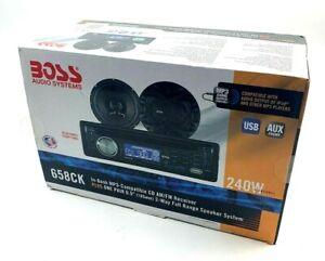Boss 240 WATT In-Dash MP3 CD AM/FM Receiver 658CK w/ pair of speakers New