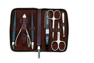 Becker-Manicure Erbe Solingen Manicure Set Case Cowhide Leather Antique Braun