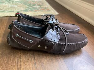 New Gucci Mens Loafers Brown Suede moccasins size 9 G 9.5 US