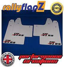 rallyflapZ MITSUBISHI EVO 6 (99-01) Mud Flaps & Fixings White VI RS Logo 4mm PVC