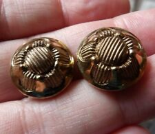 VINTAGE PAIR OF COPPERED BLACK GLASS CZECH FLOWER BUTTONS 18MM               *30