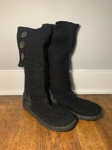 Ugg Knit Style Calf Height Boot Womens size 9, Black
