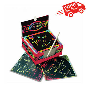 1Kids Scratch Art Box With Rainbow Children 125 Play Mini Notes Perfect Gift New