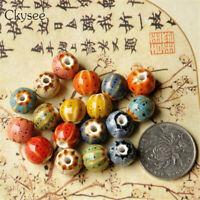 Handmade Round Glaze Flower Watermalon Ceramic Beads Porcelain Spacer Charm Bead