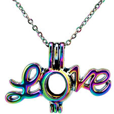 C498 Rainbow Color Big Love Locket Necklace Beads Pearl Cage Pendant 18""