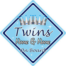 Personalised Child/Baby On Board Car Sign ~ Twins On Board ~ L.Blue