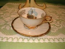 Vintage Demitasse Cup and Saucer Gold & White Bruxelles Grand Place