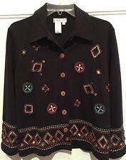 Coldwater Creek Funky Black Embellished Button Cotton Blend Jacket Size PXS