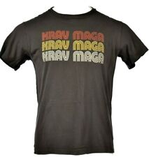 Men's Krav Maga Mma 70s Style Gray Yellow Orange Krav Maga T-Shirt Size L T073