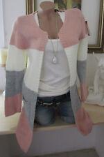 Italy Winter Cardigan Strickjacke Jacke Vintage Blockstreifen Rosa-Grau 36-38