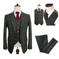 Classic Tweed Wool Blend Men Suit 3 Pieces Check Plaid Dark Green Striped Blazer