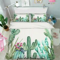 3D Watercolor Cactus Quilt Cover Duvet Cover Comforter Cover Single/Queen 87
