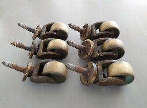 Original ANTIQUE RECLAIMED X 6  Brass Castors Casters - Furniture Sofas,Tables