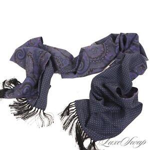 NWOT #1 MENSWEAR Reversible Purple Ancient Madder Silk Paisley Scarf Italy NR #6