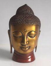 acabado antiguo Cabeza de Buda HEAVY BUDHA Busto 12.7cm HEAVY Latón