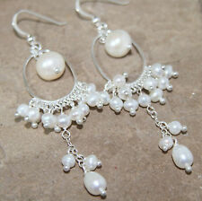 Freshwater Pearl Dangling Chandelier 925 Sterling Silver Earrings Wedding 70mm
