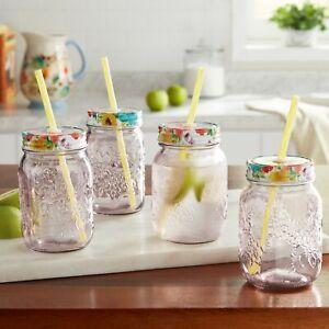 NEW Pioneer Woman Set of 4 Sunny Days 16oz Mason Jar Drinking Mug w/Straws Plum
