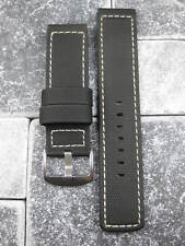 22mm Black PVC Composite Rubber Diver Strap Watch Band Portuguese Maratac White