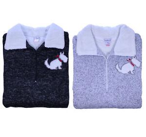Womens Slenderella Knitted Marl Scottie Dog Nightdress Long Sleeve Fleece Nighty