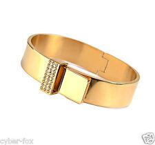18K Gold Crystal Stainless Steel Women Wide Belt Adjustable Bangle Bracelet Gift