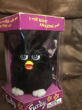 Electronic 1998 Black Furby with blue eyes pink ears NIB