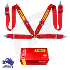 "SABELT LIGHTWEIGHT RACING CAMLOCK HARNESS RED 4 POINT 3"" SNAP ON QUICK RELEASE"