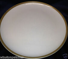 "KASUGA JAPAN FLINT STONE 10.75"" DINNER PLATE WHITE CENTER BROWN TRIM KAS6 COUPE"