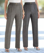 Damart Pack of 2 Snaffle Trousers Grey/Grey Check Size UK 26 L29 LF084 HH 26